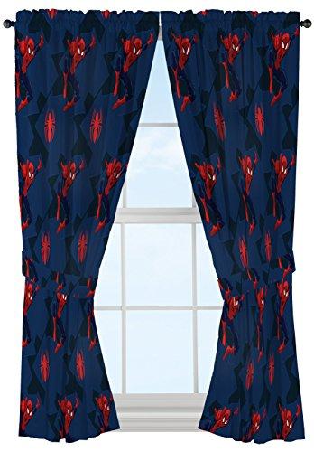 "Jay Franco Marvel Spiderman Classic Saving The Day 63"" Decorative Curtain/Drapes 4-Piece Set (2 Panels, 2 Tiebacks)"