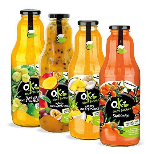 Fruchtige Getränkekonzentrate für die Zubereitung hausgemachter OK Limonaden oder heißer Getränke 4 x 1L | Vitamine | Enzyme | Antioxidantien für Kinder und Erwachsene | ohne Zuckerzusatz