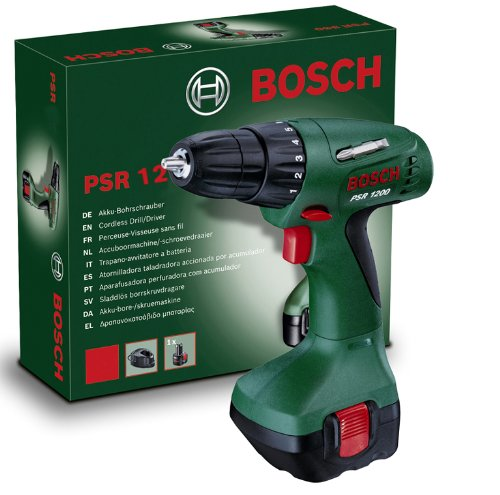 Bosch Home and Garden 0603944503 Bosch Trapano Avvitatore con Batteria al Nichel-Cadmio PSR 1200, 12 W, 12 V