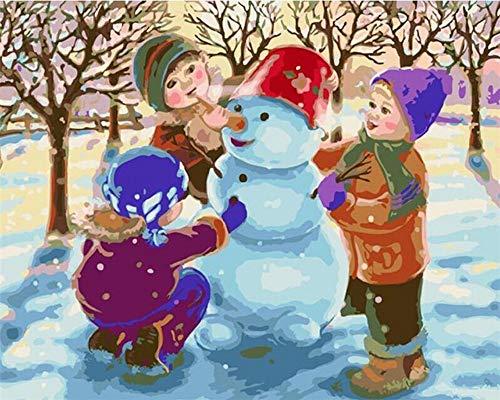 Vanzelu Doe-het-zelf Digitale schilderijset met 3 kaarsen voor kinderen, olieverfschilderij 40x50cm Geen frame.