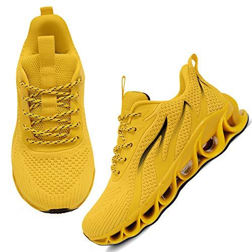 APRILSPRING Women Tennis Shoes Lightweight Running Sport Casual Athletic Walking Shoes Yellow,US 5.5
