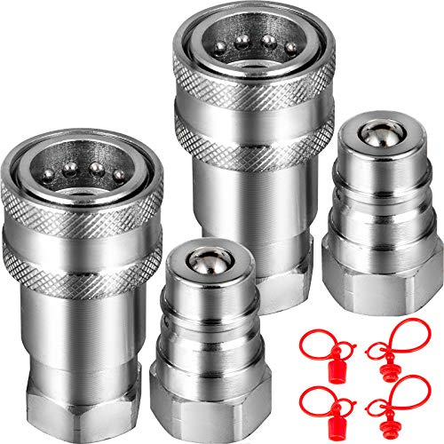 """VEVOR Flat Face Hydraulic Couplers 3/8"""" Body 3/8"""" NPT Thread, Skid Steer Quick Connect Couplings, 4061 PSI Hydraulic Fittings, 2 Sets Hydraulic Couplers w/Dust Caps for Bobcat Case (ISO 5675)"""