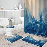 ZDDWLDL Duschvorhang-Set Graubraunes Blaues Dschungelschloss Badezimmerteppich-Set 3D Gedruckter Duschvorhang Polyester Wasserdicht rutschfest Badvorleger WC-Deckelbezug 150x180 cm