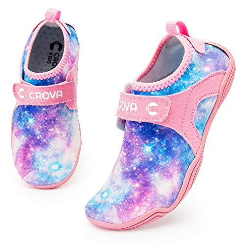 Crova Kids Water Sports Shoes Ultra Light Totally Drainage Quick-Dry Aqua Socks Barefoot Slip-on for Boys Girls Toddler