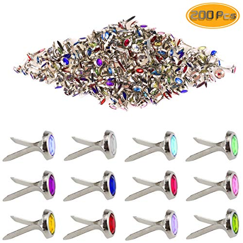 50pcs Mini Brads Metal Round Brads Paper Fasteners for DIY Scrapbooking Stamping