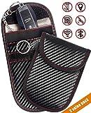 Faraday Key Fob Bag(2 Pack), Signal Blocking Key Fob case, RFID Key Fob Protector Pouch,Anti-Theft RFID Blocking Cage for Keyless Car Key(Carbon Fiber Fabric)