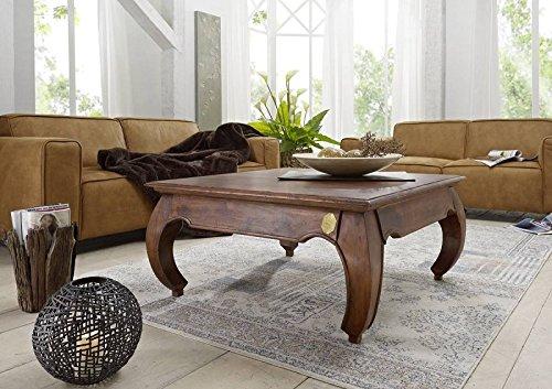 MASSIVMOEBEL24.DE Table Basse carrée 90x90cm - Bois Massif d'acacia laqué - Inspiration Ethnique-Coloniale - Opium #614