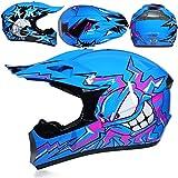 KAAM Juego de casco de motocross con gafas y guantes, unisex, para las cuatro estaciones del año, para descenso, Enduro, ATV, MTB, BMX, quad, motocicleta, Offroad, para hombres y mujeres (azul, L)