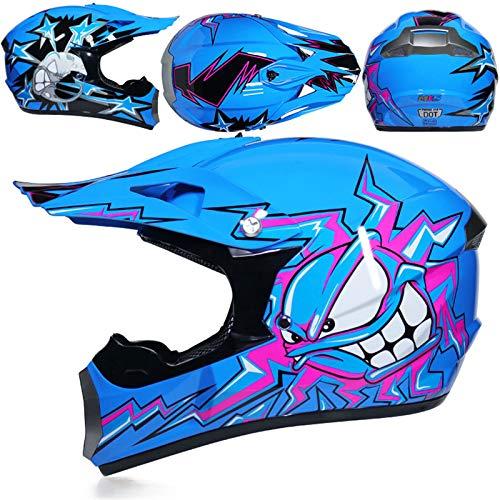 KAAM Juego de casco de motocross con gafas, guantes, máscara, cuatro estaciones, unisex, casco Downhill Enduro, ATV, MTB, BMX, quad, motocicleta, Offroad, para hombres y mujeres (azul, M)