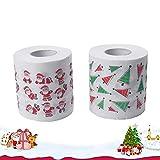 Ltjqsm 2 Rollo con Estilo Rollo de Inodoro Papel Navidad Papel de impresión Papel Papel Impreso Impreso Baño de Navidad Tejido (Color : Picture 1)
