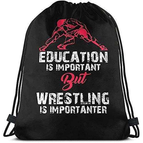 Not Applicable Sporttaschen Gymsack,Bildung Ist Wichtig, Aber Wrestling Ist Wichtiger, Fu Cinch Bag, Casual Drawstring Rucksäcke Für Erwachsene Jungen Mädchen