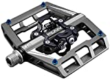 Funn Mamba Mountain Bike Clipless Pedal Set - Double Side Clip Wide Platform MTB Pedals, SPD Compatible, 9/16-inch CrMo Axle (Gray)