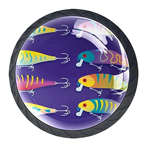 Señuelo de pesca con fondo morado oscuro, perilla de gabinete de cajón de alta calidad para oficina, hogar, cocina, gabinete de baño aparador