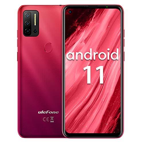 Telephone Portable Debloque 4G, Android 11 8Go+128Go Ulefone Note 11P(2021) Octa-Core Ecran Waterdrop 6,55 Pouces 48MP 4400mAh Face ID,OTG,Dual 4G Volte/GPS Smartphone Debloque(Rouge)
