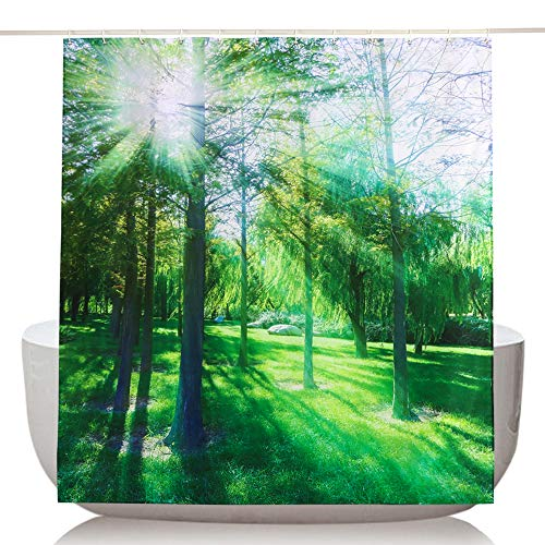 Topmail 3D Duschvorhang aus Polyester mit 12 Duschvorhangringe für Badezimmer Wasserabweisend und Anti-Schimmel Waschbare Badvorhang (180 x 180 cm)