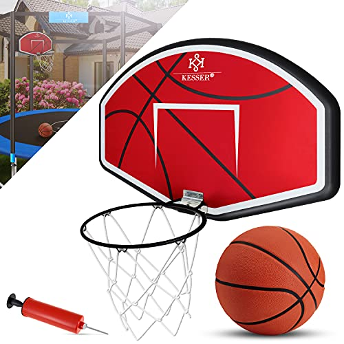 KESSER® Basketballkorb-Set Wandmontage mit Netz Basketball Backboard für Kinder Basketballbrett mit Ball Ballpumpe Wandhalterung Korb und Basketballring Indoor Outdoor Mit Trampolin Kombinierbar Rot