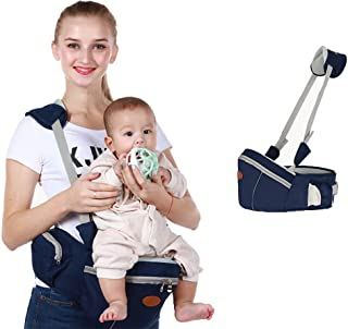 Baby Hip Seat Carrier Baby Waist Stool for Child Infant Toddler with Adjustable Strap Buckle Pocket Soft Inner Huge Storage (Dark Blue)