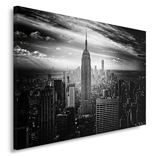 Feeby. Quadro - 1 Parte - 80x120 cm, Pannello Singolo Quadri su Tela Stampa Artistica, New York, ARCHITETTURA, Bianco E Nero
