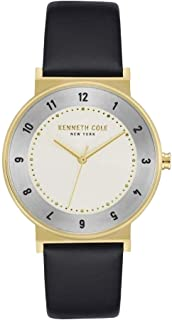 Kenneth Cole Men's Off White Dial Leather Band Watch - KC50074002