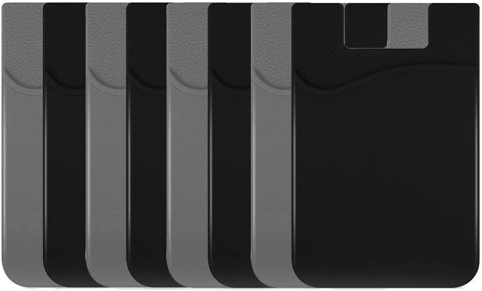 Cellphone Card Holder Back Wallet, JINYEXUAN 8 pcs Colorful Silicone 3M Adhesive Stick-on Credit Card ID Card Keeper with(Black 、Grey)
