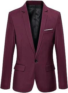 CLASSIX Men's Burgundy Slim Fit Cotton Suit Blazer Burgundy XL