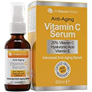 20% Vitamin C Serum - 60 ml / 2 oz Made in Canada - Certified Organic Ingredients + 11% Hyaluronic Acid + Vitamin E Moisturizer + Collagen Boost - Reverse Skin Aging, Remove Sun Spots, Wrinkles and Dark Circles, Excellent for Your Skin + Includes Pump & Dropper
