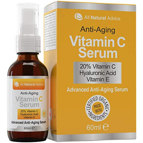 20% Vitamin C Serum - 60 ml / 2 oz Made in Canada - Certified Organic Ingredients + 11% Hyaluronic Acid + Vitamin E Moisturizer + Collagen Boost - Anti-Aging, while reducing Sun Spots, Wrinkles and Dark Circles, Excellent for Your Skin + Includes Pump & Dropper