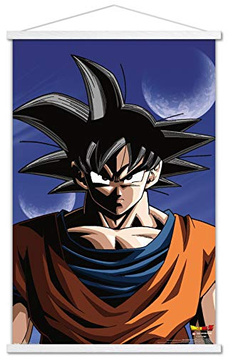 Trends International Dragon Ball Z - Goku Wall Poster with Wooden Magnetic Frame, 22.375' x 34', Print and White Hanger Bundle