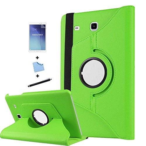 TIODIO 4 en 1 Case Cover Custodia per Samsung Galaxy Tab E 9.6-Inch SM-T560/SM-T561 Cover in Ecopelle con Meccanismo di Rotazione di 360° per Posizionamento Verticale ed Orizzontale del Tablet,Pellicola di Protezione e dello stilo Incluse, Verde
