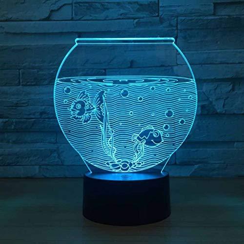 ZCXBHD 3D Aquarium nieuwigheid lampen LED nachtverlichting tafel lamp decoratie 7 kleuren unieke lichteffecten USB-adapter voor kinderen fantastisch cadeau