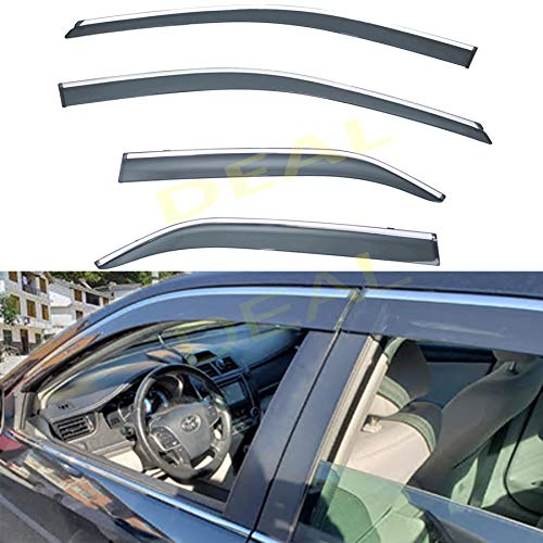 DEAL AUTO ELECTRIC PARTS 4-Piece Set Outside Mount Tape On/Clip On Type Smoke Tinted Sun/Rain Guard Vent Window Visors With Chrome Trim Compatible With 2012-2017 Camry All Models