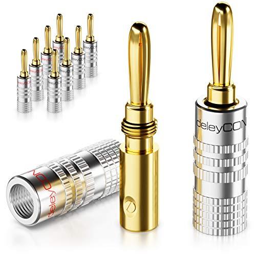 deleyCON 10x Bananenstecker als Set Vergoldet Schraubbar für Lautsprecherkabel 0,75mm - 4mm & z.B. HiFi Receiver