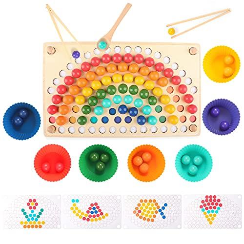 Ulikey Montessori Spielzeug, Holz Clip Beads Brettspiel, Holz Clip Perlen Spiel...