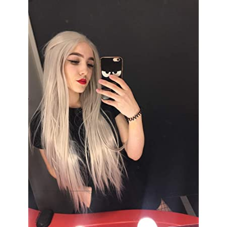 Drag Queen Wig Ash Blonde Long Hair Synthetic Lace Front Wigs For Women Female Cosplay Party Holidays Wigs 26 Amazon De Beauty