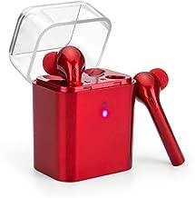 True Wireless Earbuds, Bluetooth Earphones Stereo Sound Bass Earpiece Headset Sport Running Waterproof Headphones with Charging Case (Red)