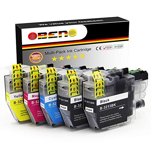 OBENO - 1 Set 1 BK - LC3213 Cartucce d'inchiostro compatibili a 5 pezzi per Brother LC3211 MFC-J890DW, MFC-J895DW, DCP-J772DW, DCP-J774DW, DCP-J572DW (2 Nero, 1 Ciano, 1 Magenta, 1 Giallo)