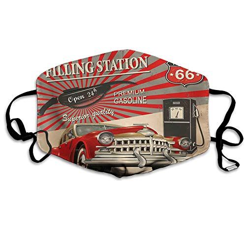 Mundschutz Atmungsaktive Gesichtsmundabdeckung Staubdichter,Poster Style Image Gasoline Station Commercial Kitschy Element Route 66 Retro Theme Print.jpg,Gesichtsdekorationen