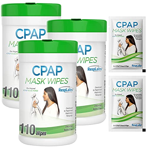 RespLabs CPAP Mask Wipes, 3X 110 Pack Bottle - Unscented and Lint-Free. Includes 2 CPAP Travel Wipes and CPAP Comfort Hacks E-Book.