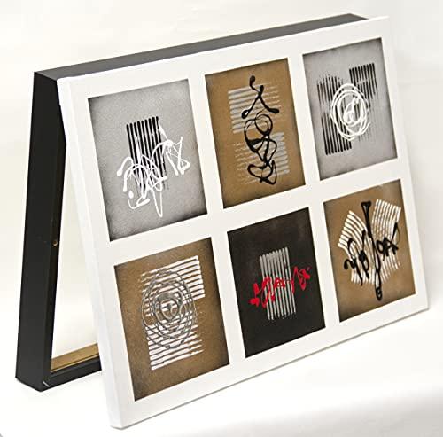Cuadroexpres - Tapa de Contador Abstracta 30x45x4 cm (Interior) Caja Decorativa para Cuadro Eléctrico. En Melamina Negra. Cierre de imán y Tornillos para Fijar en la Pared.