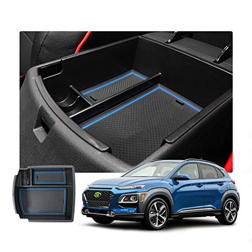 RUIYA Aufbewahrungsbox Aufbewahrungskiste Mittelkonsole Veranstalter Armlehne Box angepasst Console Armlehne Box angepasst für 2018 Hyundai Kona(Benzin-und Dieselmodell), Konsole Organizer Box (blau)