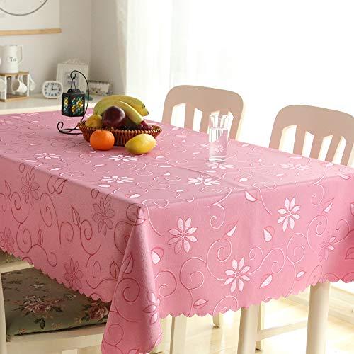 FJPTREN Tischdecke Ornamente Seidenglanz Schmutzabweisend Abwaschbare Tischdecken Familie Festliches Abendessen 100% Polyester Hohe Faser (Rosa, 100 x 140 cm)