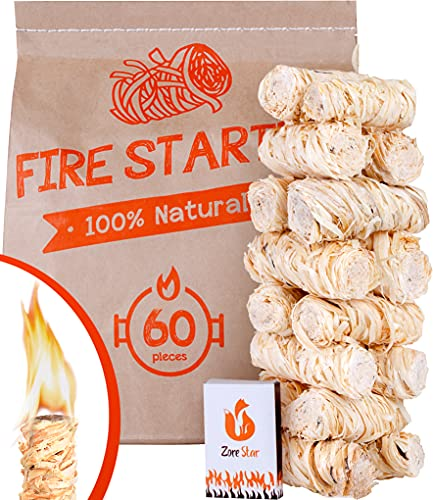 Natural Fire Starter 60pc XXL Size - Сharcoal fire Starters - Better Than Lighter Cubes and Firestarter Squares for Indoor Fireplace, Camping, Grill