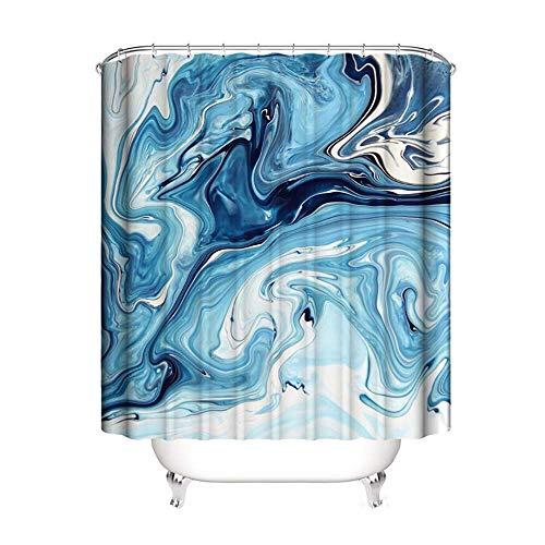 SEVEN HITECH Shower Curtain with 12 Hooks,Abstract Blue Marbling Pattern Curtain Anti Mould...