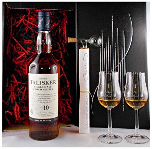 Geschenk Talisker 10 Jahre Single Malt Whisky + Glaskugelportionierer + 2 Bugatti Gläser