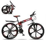 26 Pulgadas Plegable Bicicleta Montaña,21 Velocidad Hombres Portátil Bicicleta De Montaña Ligero Bike,Absorbente De Impactos Completo Freno De Disco Doble Bicicleta De Carretera-J 21 Velocidad