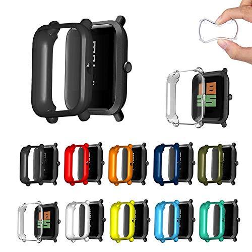 pegtopone 3 Piezas Funda para Amazfit Bip S Lite Parachoques Cubierta Estuche De Protección De Reloj Inteligente TPU Suave Estuche De Silicona Anti-rasguños Cobertura 3D Fotograma Completo