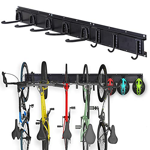 Bike Hangers for Garage,Bicycle Rack Large Hooks Wall Mount,Adjustable Storage System Organization for Ceiling,Vertical 6 Holders for Home Indoor Hold Up to 300bs(6 Hooks and 3 Rails)