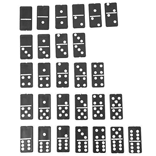 Alomejor Domino Game - Juego de 28 Piezas, Color Negro, plástico, números Blancos para niños, Juegos al Aire Libre