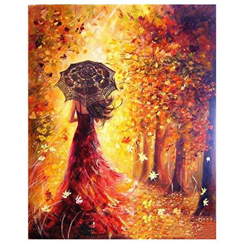 Anti-Stress-Malen-nach-Zahlen-Set Frau mit Regenschirm Malerei für Erwachsene Anfänger Unframed Mädchen mit Regenschirm im Golden Forest