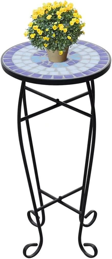 vidaXL Side Table Mosaic Ceramic Max 66% NEW before selling OFF Blue White Stand Plant H Garden